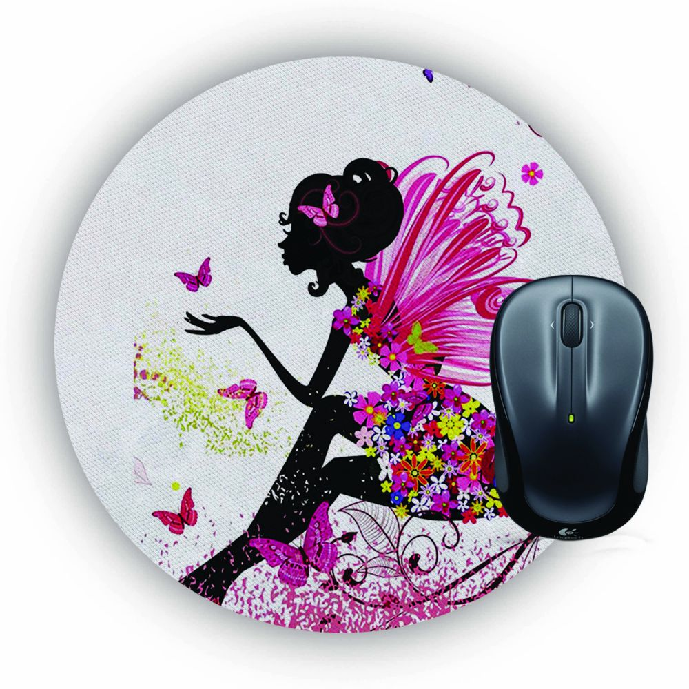 The Pixie With Her Butterflies Mouse Pad (Round)