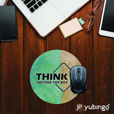 Think Outside The Box Mouse Pad (Round)-Image2