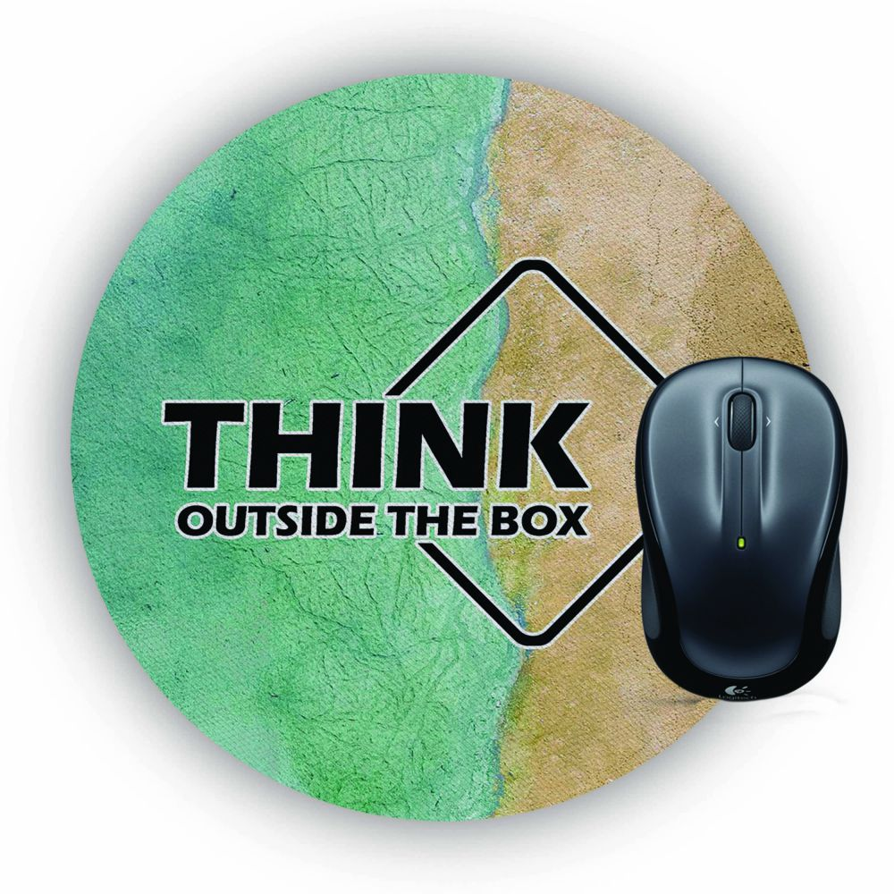 Think Outside The Box Mouse Pad (Round)