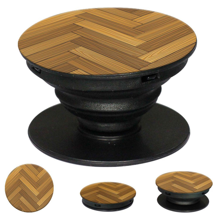 Wood Pattern Mobile Grip Stand (Black)