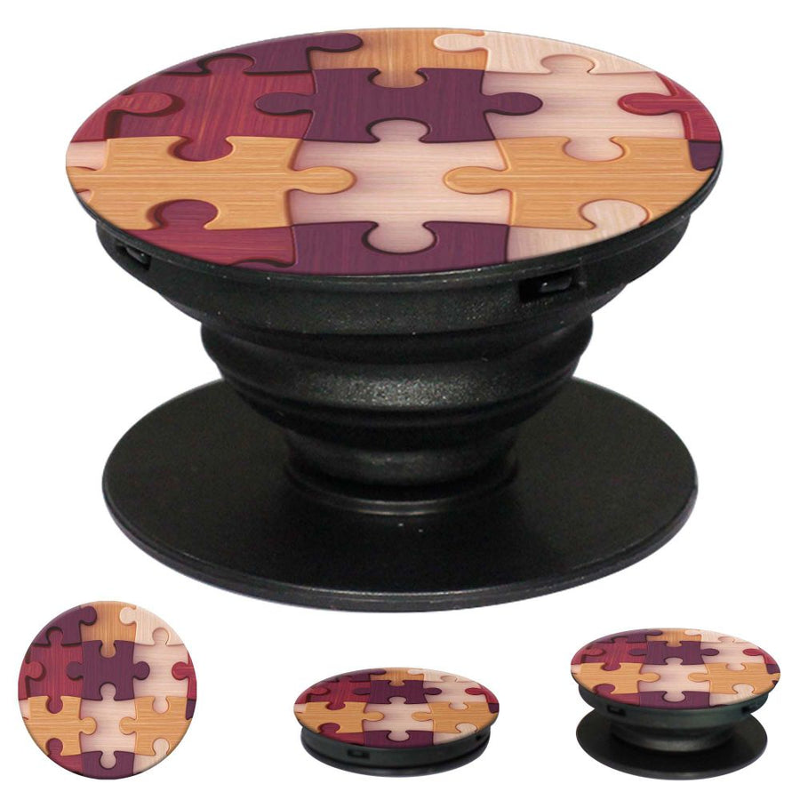 Wooden Jigsaw Mobile Grip Stand (Black)