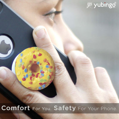 Yellow Doughnut Mobile Grip Stand (Black)-Image6