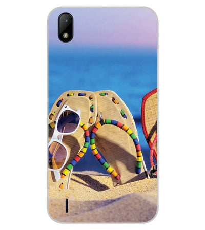 Cute Flip Flops On Beach Back Cover for Lava Z41