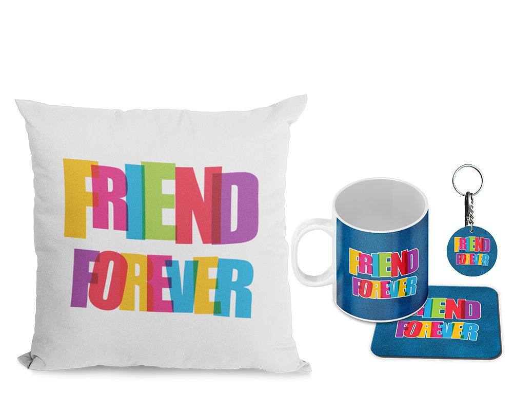 Friend Forever Cushion, Coffee Mug with Coaster and Keychain