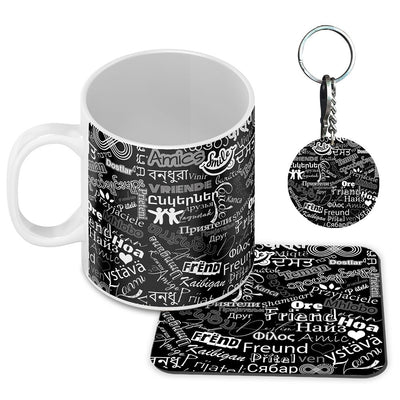 Friend in All Languages Coffee Mug with Coaster and Keychain