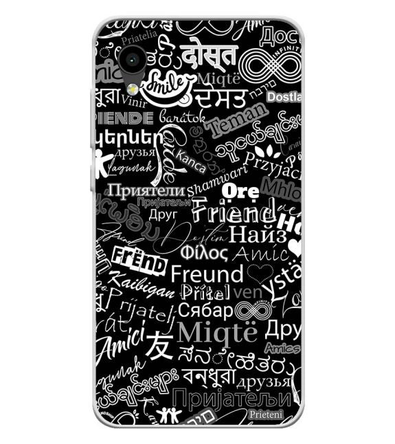 Friend in All Languages Back Cover for Intex Aqua 4G Mini