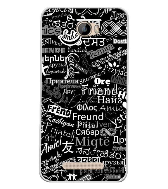 Friend in All Languages Back Cover for Intex Aqua 5.5 VR