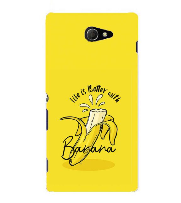 Life is Better with Banana Back Cover for Sony Xperia M2