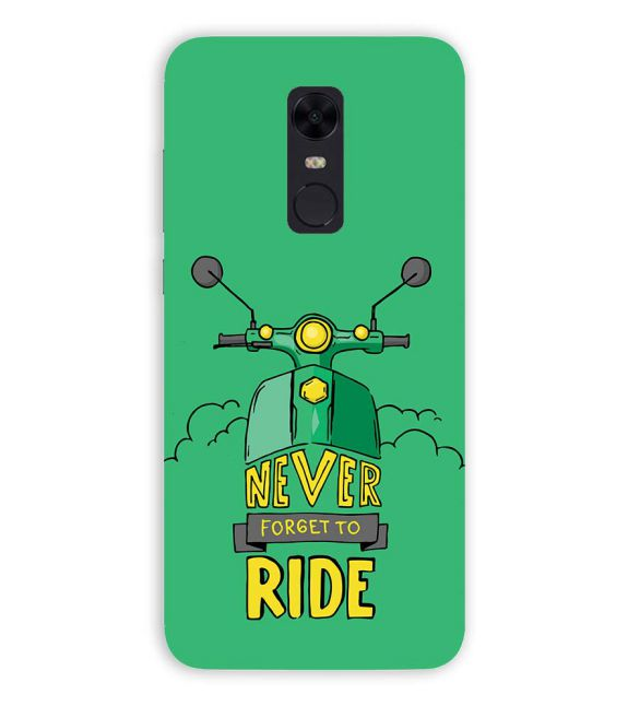 Never Forget to Ride Back Cover for Xiaomi Redmi Note 5