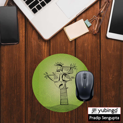 Tree birds Mouse Pad (Round)-Image2