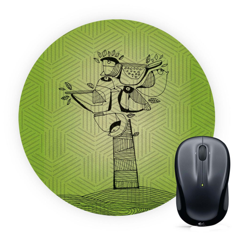 Tree birds Mouse Pad (Round)