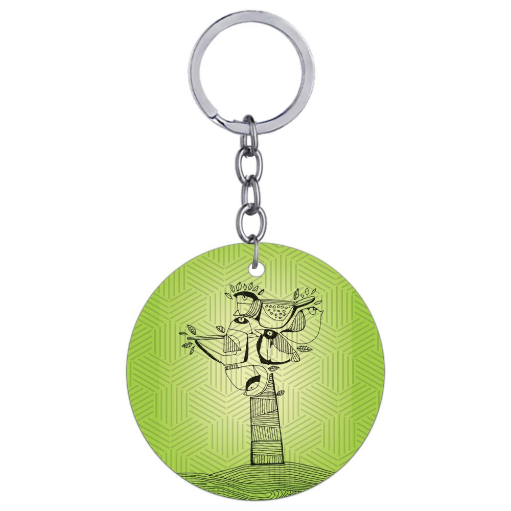 Tree birds Round Keychain