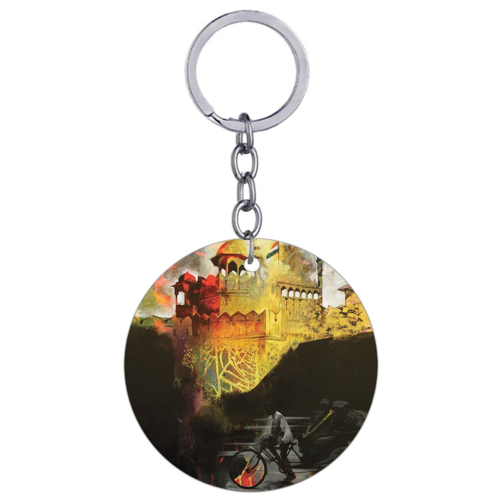 Welcome to Delhi Round Keychain