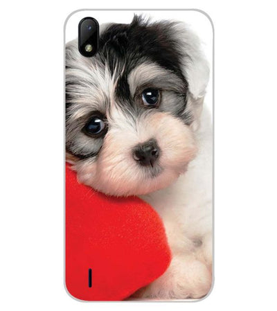 Puppy With Pillow Back Cover for Lava Z41