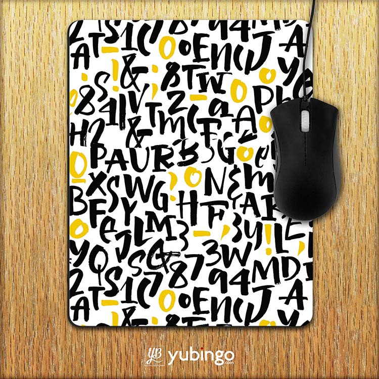 Alphabets & Numbers Mouse Pad