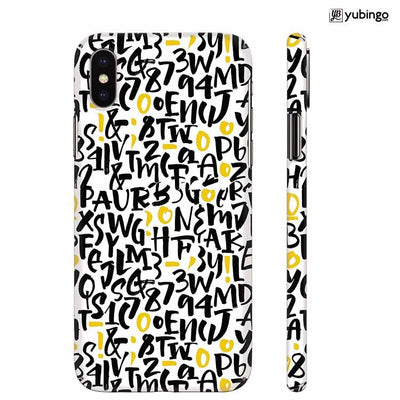 Alphabets And Numbers Back Cover for Apple iPhone X