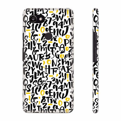 Alphabets And Numbers Back Cover for Google Pixel 2 XL (6 Inch Screen)