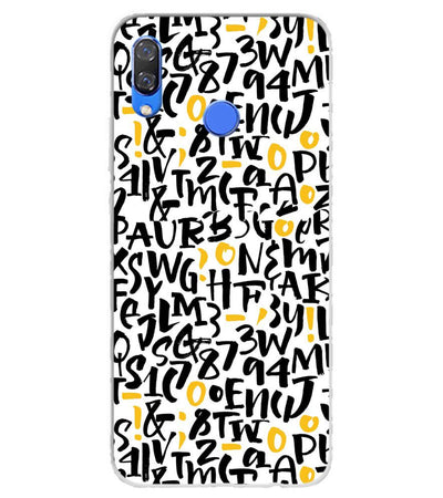 Alphabets And Numbers Soft Silicone Back Cover for Huawei Y9 (2019)