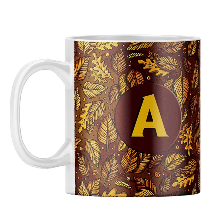 Autumn Leaves Customised Alphabet Coffee Mug