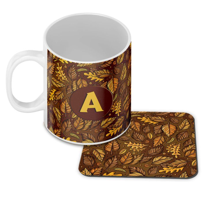 Autumn Leaves Customised Alphabet Coffee Mug With Coaster