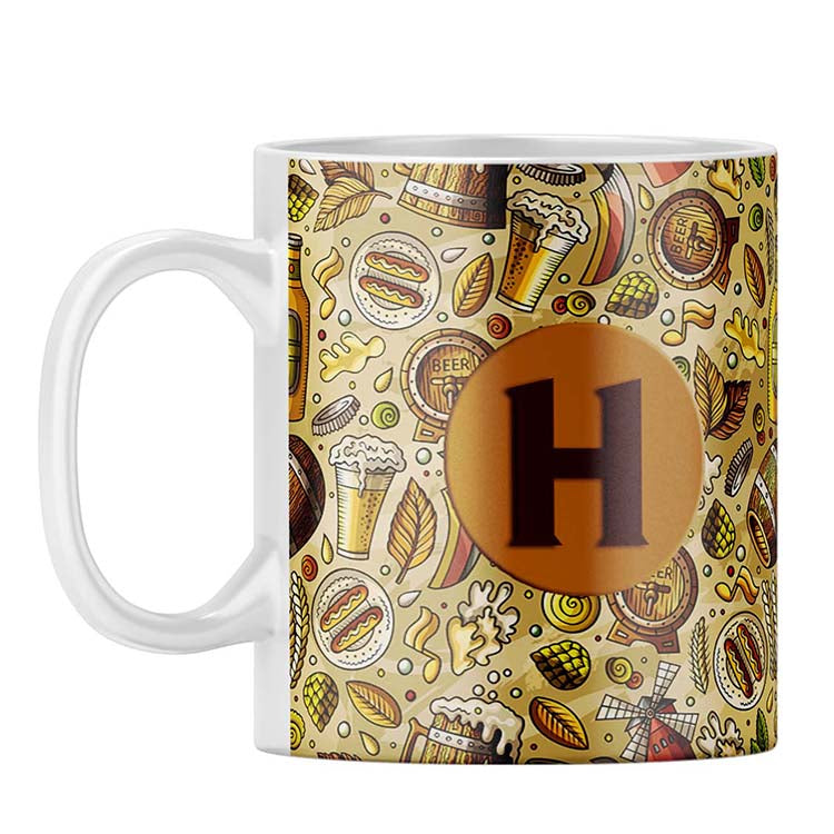 Beer Overflow Customised Alphabet Coffee Mug