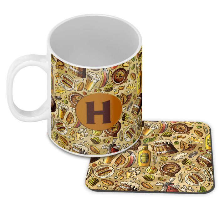 Beer Overflow Customised Alphabet Coffee Mug With Coaster