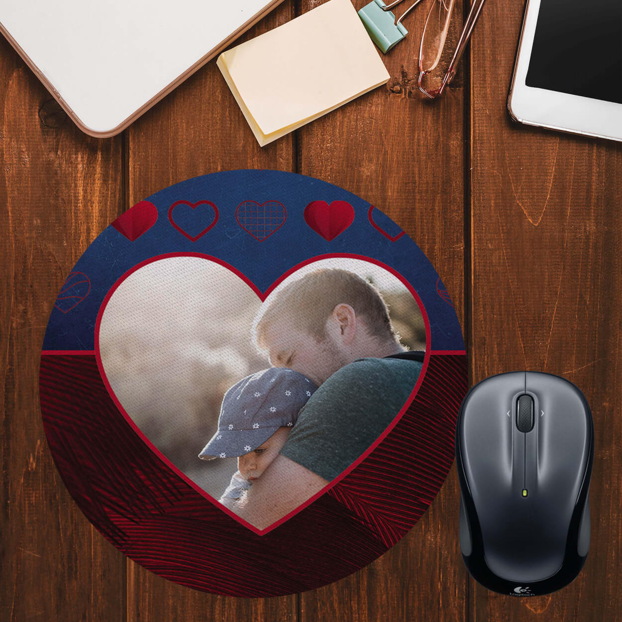 Blue Hearts Photo Mouse Pad (Round)