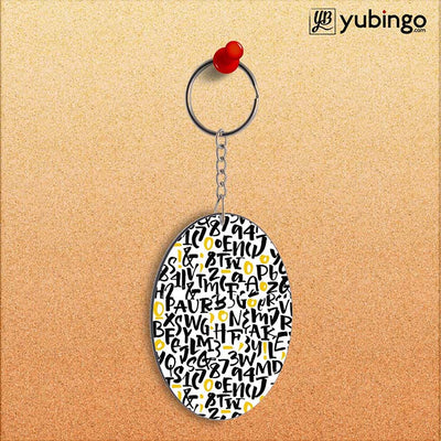 Alphabets & Numbers Oval Key Chain-Image2