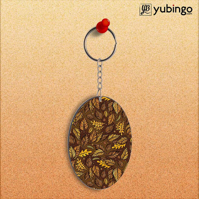 Autumn Leaves Oval Key Chain-Image2