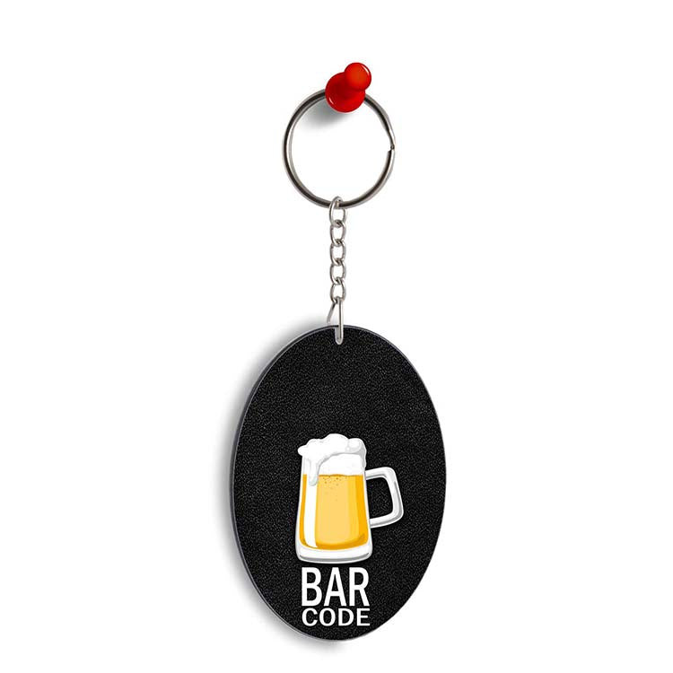 Bar Code Oval Key Chain