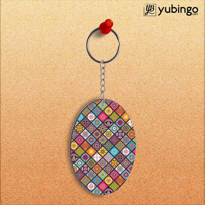 Beautiful Mandala Pattern Oval Key Chain-Image2