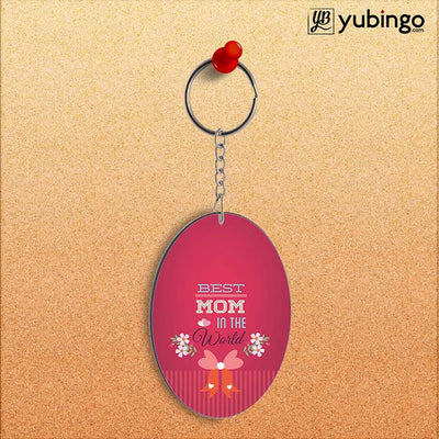 Best Mom in the World Oval Key Chain-Image2