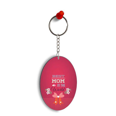 Best Mom in the World Oval Key Chain