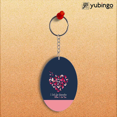 Butterflies on Seeing You Oval Key Chain-Image2