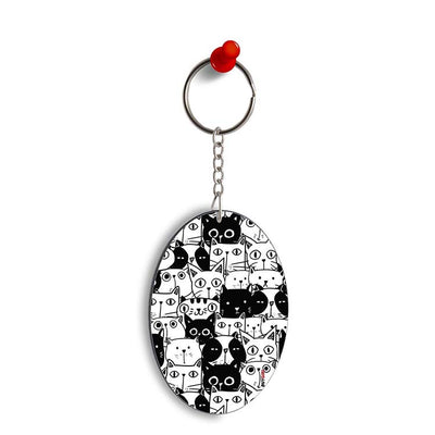 Cats Oval Key Chain