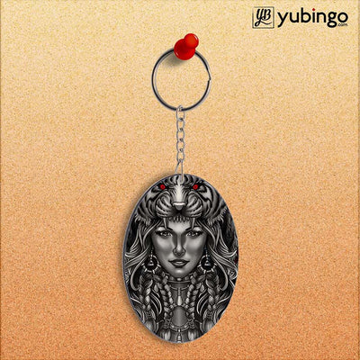 Charming Lady with Tiger Oval Key Chain-Image2