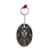 Charming Lady with Tiger Oval Key Chain