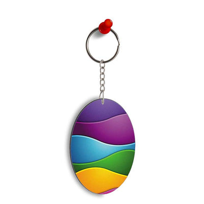 Colors Multiplied Oval Key Chain