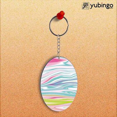 Colourful Marble Oval Key Chain-Image2