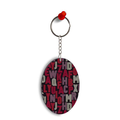 Cool Alphabets Oval Key Chain