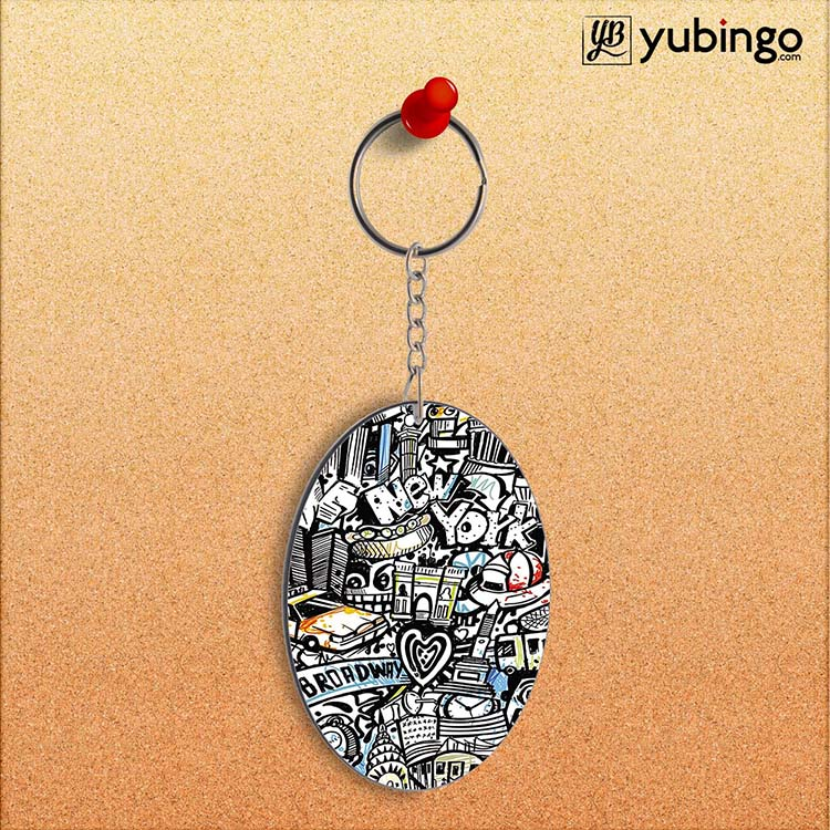 Cool Graffiti Oval Key Chain