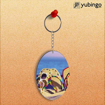 Cute Flip Flops On Beach Oval Key Chain-Image2