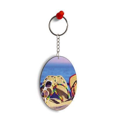 Cute Flip Flops On Beach Oval Key Chain