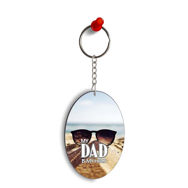 Dad is My Hero Oval Key Chain
