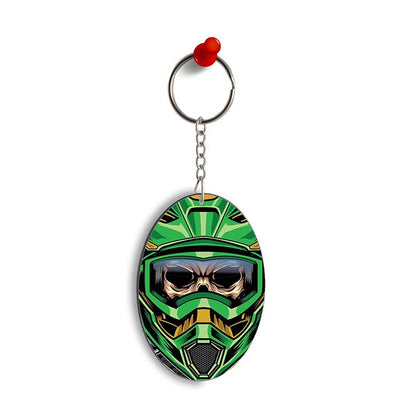 Driving Skull Oval Key Chain