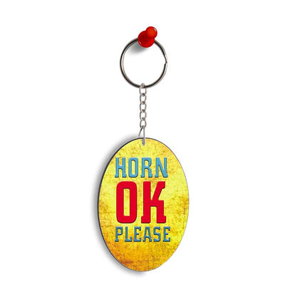 Horn OK please Oval Key Chain