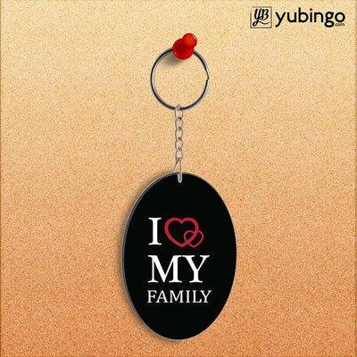 I Love My Family Oval Key Chain-Image2