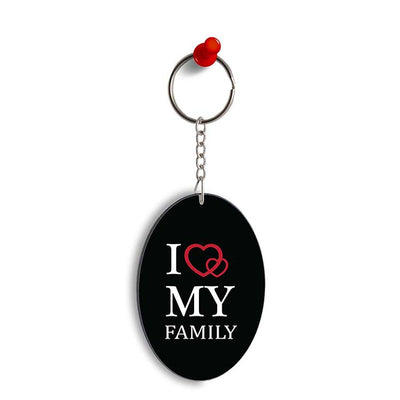 I Love My Family Oval Key Chain