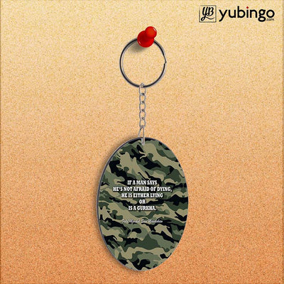 Indian Army Quote Oval Key Chain-Image2