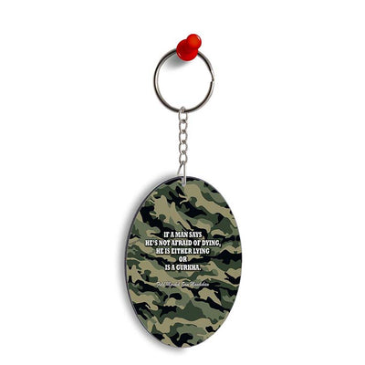 Indian Army Quote Oval Key Chain